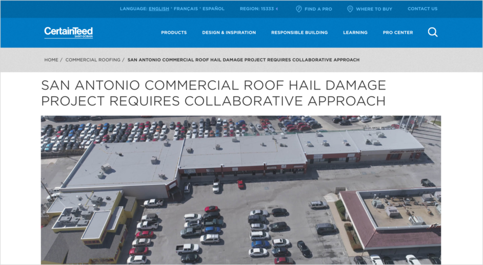 Commercial roof hail damage project